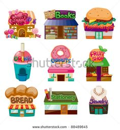 cartoon shop/house icons - stock vector