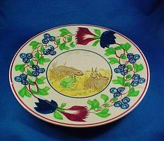 Antique Rabbit & Frog Spongeware Stick Spatter English Staffordshire Transferware Plate, As Is on Etsy, $95.00