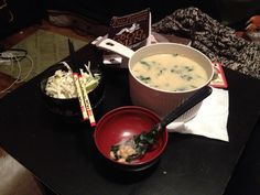 """I call this surprisingly creamy soup """"Soupernatural Misoy Soup."""" Maybe it should be Shark Tank soup to go with my lunch theme. Made of Miso, Soy beans, & an egg drop. Also added wakame. Pretty tasty."""