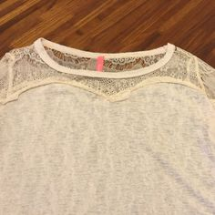 Top Thin knit sweater great for spring and summer sheer lace on front of neck and back of neck lace detail also on sides of arms Tops
