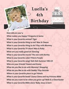 Birthday Questionaires! Fun Ideas for Memory Making | Sunshine Praises