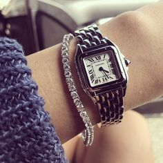 Cartier watch owners: please show us your watches... | PurseForum Luxury Watches Women, Cartier Watches Women, Estilo Meghan Markle, Cartier Tank Solo, Cartier Panthere, Tank Watch, Fashion Accessories, Fashion Jewelry, Watch Necklace