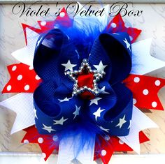 4th of july hair bow hair bow white and blue spike