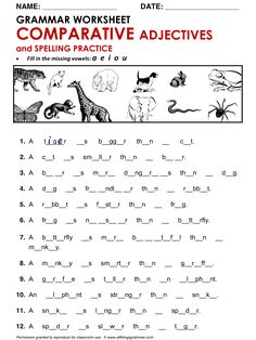 English Grammar Worksheet Comparative Adjectives and Spelling Practice http://www.allthingsgrammar.com/comparatives.html