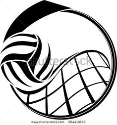 illustration of a volleyball swooping over a net inside a medal design.