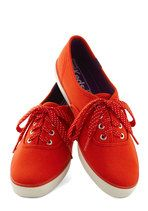 Jump for Joy Sneaker in Red | Mod Retro Vintage Flats | ModCloth.com