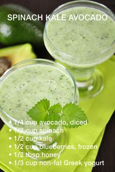 spinach kale avocado #homemadeproteinshakes -- This intrigues me and seems to be a good way to get in those leafy greens.
