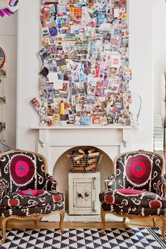 Eclectic, boho luxe living space. The pin board adds a personal touch and the matching armchairs are to die for!