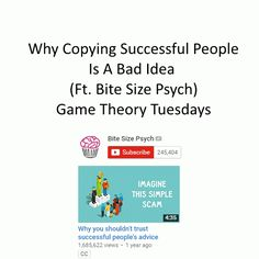 Why copying successful people is a bad idea. Highly Effective People, Game Theory, Mind You, 7 Habits, Successful People, Psych, Mindfulness, Advice, Games
