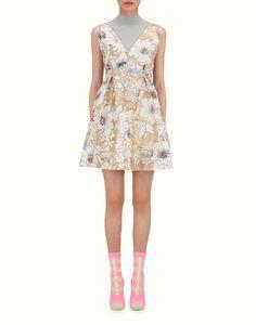 FENDI SHORT DRESS - Gold brocade dress - view 1 zoom