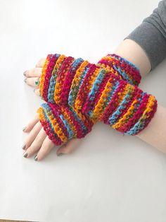 Wrist Warmers, Arm Gloves, Fingerless Gloves, Crochet Fingerless Bright Colors