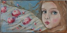 "whimsical portrait angel floral painting 7X14"" k d milstein PFATT  http://www.ebay.com/soc/itm/161006524233  whimsical portrait angel floral painting 7X14"" k d milstein PFATT in Art , Direct from the Artist , Paintings 