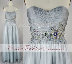 Gorgeous Strapless Crystal Beading Draped Chiffon by CassieFashion, $139.00