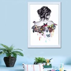 Diamond Painting Butterfly Beauty Girl 5D Embroidery DIY Home Wall Decor 30x40CM #Kabi