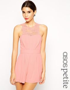 ASOS PETITE Exclusive Scallop Lace Top Playsuit