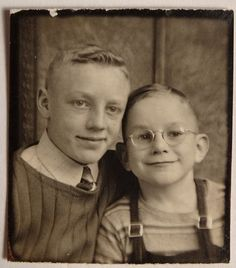 ** Vintage Photo Booth Picture **   Adorable Brothers  ~ 1930