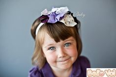 Babies White Stretchy Headband Purple Butterflies And Flowers Motifs On New
