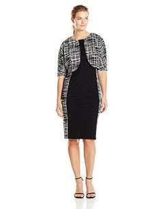 Maya Brooke Womens Scratch Print Inset Jacket and Dress Set BlackWhite 16 >>> Want additional info? Click on the image.(This is an Amazon affiliate link and I receive a commission for the sales)