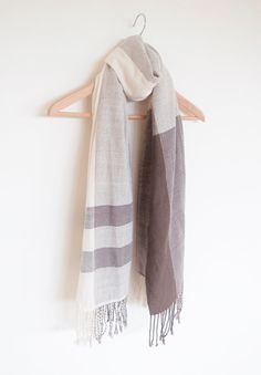 Handwoven Scarf Cashmere Cotton Evergreen and Off white