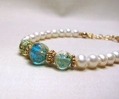 Turquoise blue Murano bracelet  White pearl by ShopPretties, $60.00