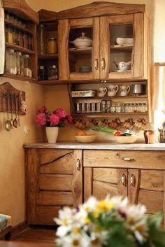 Wiejska kuchnia, kuchnia z drewna, drewniana kuchnia, drewniane meble kuchenne…