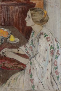 Elena Kiseleva, (1878-1974, Russian), 1909, Portrait of Liza Elizaveta Karyakina, born Fedyaevskaya (Портрет Лизы). on ArtStack #elena-kiseleva-1 #art
