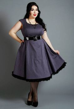 A Retro-inspired Pinup dress with classic details (full skirt, pockets, scoop neck). Available in Reg & Plus Sizes Modern Vintage Style. Pin Up Outfits, Pin Up Dresses, Super Cute Dresses, Plus Size Dresses, Dress Outfits, Plus Size Rockabilly, Rockabilly Girls, Rockabilly Clothing, Rockabilly Style