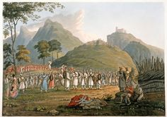 'Assemblage of Ghoorkas', 1815. Robert Havell and Son after James Baillie Fraser. James Baillie Fraser (1783-1856) travelled through Nepal and the Himalayas in 1815. He described the Gurkha people: 'Their soldiers are stout, thick, well built men, in general; very active and strong for their size. They understand the use of the 'tulwar,' or sabre, and prefer close fighting, giving an onset with a loud shout: each man wears, besides his sword, a crooked, long, heavy knife, called 'cookree'.
