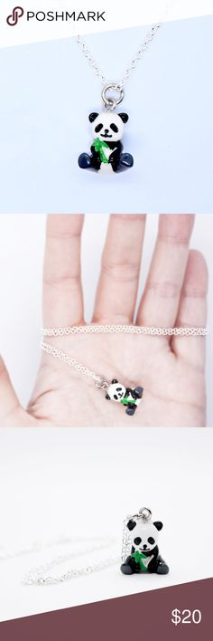 Panda Charm Necklace This adorable necklace features a mini 3-D panda bear holding some bamboo. The necklace is silver plated and the panda is made of resin and nickel plated metal. The chain length is 18 inches. All items are handmade by me, brand new and unused. Ivory Rose Crafts Jewelry Necklaces