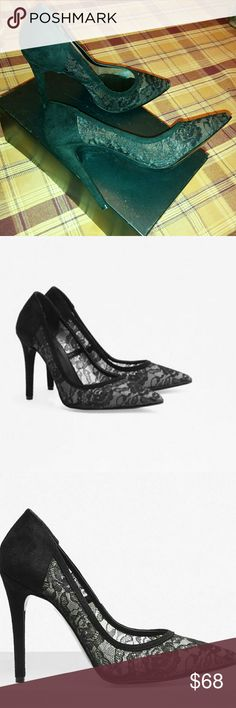 "🆕French Connection  Rosana Lace Court With a leg-flattering pointed toe, the Rosana Lace Court shoes are a chic pair of heels to walk you into the evening. They stand moderatly tall on a stiletto heel to add after-dark vamp to the most ordinary of outfits. Black Lace and suede. Made in Italy.  Pointed-toe lace heels. Stiletto heel. Leather lining. Heel height: 4"".  Upper: 91% Polyamide 9% Viscose.  Size marked 39, it is rather smaller, will fit 8-8.5 French Connection Shoes Heels"