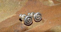 Signed Sterling Silver Swirl Stud Earrings from ERCubed on Etsy, $15.00