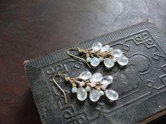 Moonstone draped earrings by Tootsiejos on Etsy, $24.00