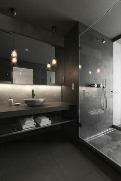 Wall color black floor tiles pendant lights bath ideas