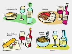Here are 15 crave-worthy comfort food and wine pairings. Be warned, naps are not included (although you'll be tempted! Cheese Ramen, Cheese Noodles, Cheese And Wine Tasting, Wine Cheese, Pinot Noir Grapes, High Tea Food, Fruity Wine, Wine Folly, Wine Parties