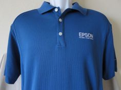 EPSON Nike Golf Blue Polo Shirt Exceed Your Vision Employee Printer Size Medium