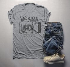 5a7dda5d3 Men's Wander Hipster T-Shirt Mason Jar Adventure Camping Tee Mountains Camp  Fire. Camping HumorFunny CampingDeer CampFunny Graphic TeesStay ...