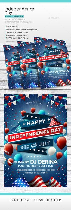 Independence Day Flyer Flyers, Fonts and Flyer template - independence day flyer
