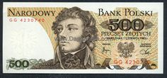 Polish 500 Zloty banknote with Tadeusz Kościuszko, released in Money Notes, Euro Coins, Foreign Coins, Europe, Old Coins, People Of The World, Coat Of Arms, Postage Stamps, Polish People