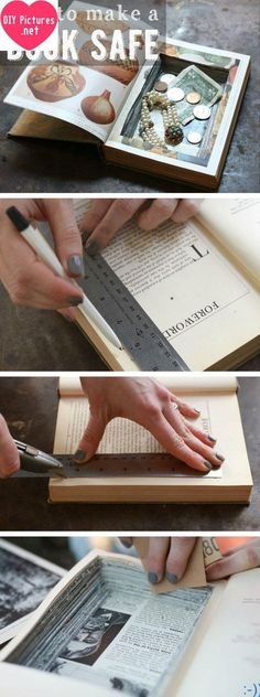 """Hello guys. We will today turn a hardcover book into a hidden safe. Yes, it will be safe. But don""""t tell anyone OK? Because it""""s your secret box. Special. Let""""s make it. Already it""""s so easy. Just belonging to you. So, keep one one one and one more secret. As you can. You will do only one thing: Follow the steps. source"""
