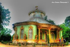The tea house on the grounds of Sanssouci, the former summer palace of Frederick the Great, King of Prussia, in Potsdam, near Berlin. It is often counted among the German rivals of Versailles.