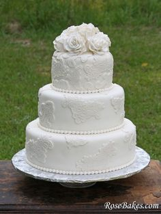Rustic Lace Wedding Cake