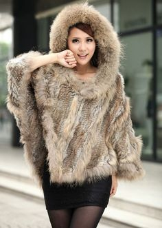 Rabbit Fur Knitted Hooded Down Coat Fur Poncho Shawl  Retail/wholesale/OEM Factory Sale