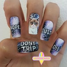 These Grumpy Cat nails. | 34 Photos That Will Make You Want To Step Up Your Nail Art Game