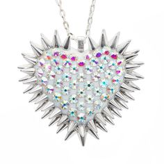 """""""Xirius"""" Spiked & Pavèd Heart Necklace in Aurora"""