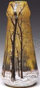 Daum Nancy Glass; Cameo, Vase, Winter Scene, 12 inch.