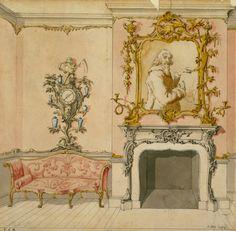 Эскиз оформления гостиной в стиле рококо, автор Джон Линнелл, 1750-е: