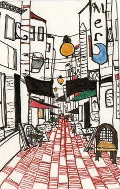 Travel Drawing Rue des Bouchers in Brussels by katiebugstars, $40.00