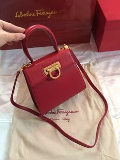 6b86ace440 Ferragamo Small Calfskin Katia Satchel Top Handle Bag Red