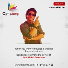 A successful business needs an impressive website. We are a complete solution to your website needs and remember, don't underestimate the power of Opti Matrix Solution. Contact us today to get started. 🖥️ www.optiinfo.com 📩 info@optiinfo.com 📲 +918141061116 🔗 wa.me/918141061116 #webdevelopment #webdevelopmentcompany #webdevelopmentservices #webdevelopmentagency #webdevelopmentservicesindia #webdevelopmentsupport #webdevelopmentcompanyindia Website Design Services, Website Design Company, Web Development Agency, Bollywood Memes, Contact Us, Successful Business, Web Design Company