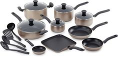 T-fal A777SI64 Initiatives Nonstick Inside and Out Dishwasher Safe 18-Piece Cookware Set